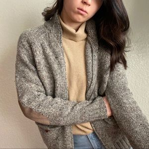 Vintage Speckled Wool Sweater Cardigan in Gray